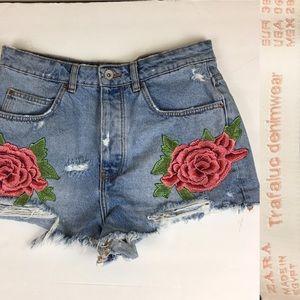 ZaraTrafaluc Denimwear Embroidered Denim Shorts